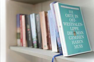 Reise- und Gartenlektüre - Buchauswahl im Regal
